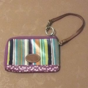 Fossil wristlet with birds and stripes EUC